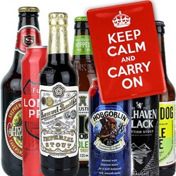 "Bild von 7er Bierset ""KEEP CALM AND CARRY ON"" Probierset aus Grossbritannien - mit Blechpostkarte"